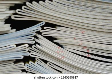 Stack of textbooks, workbooks, closeup