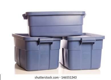 A stack of three blue plastic storage tubs