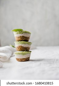 Stack of three healthy lactose and glutenfree coconut avocado spinach bites cakes