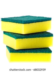 Stack of three new clean colorful scrubber pads or scourers. Isolated over white with clipping path.