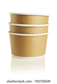 Stack of Three Paper Bowls on White Background