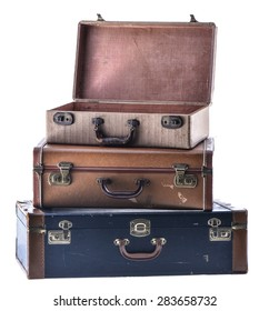 Stack of Three Vintage Suitcases Angled Open Isolated