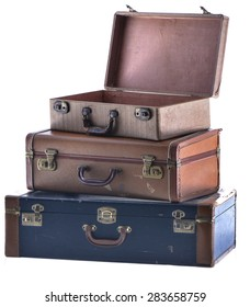 Stack of Three Vintage Suitcases Angled Open Isolated Two