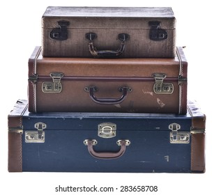 Stack of Three Vintage Suitcases Isolated
