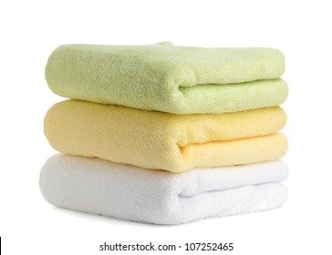 stack of towels isolated on white background
