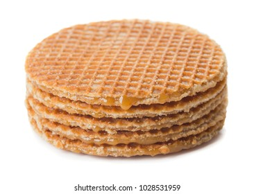 stack of traditional dutch stroopwafels isolated on white background