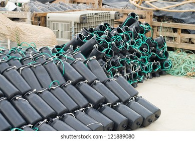 Stack of traps as used for octopus fishing