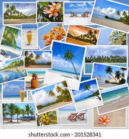Stack of travel images from Thailand (my photos). Collage of summer tropical beach image. Nature and travel background
