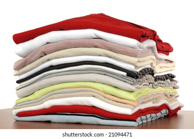 Stack of T-Shirts in different colours