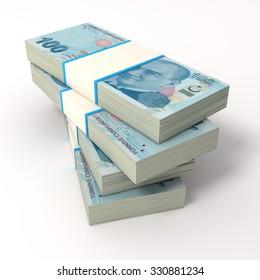 Stack of Turkish Lira bills. Isolated on white.