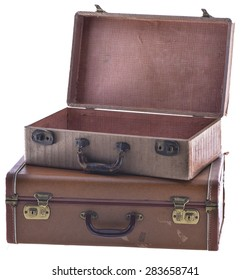 Stack of Two Vintage Suitcases Angled Open Isolated