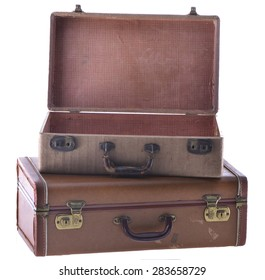 Stack of Two Vintage Suitcases Open Isolated