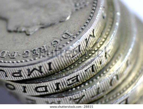 Stack of UK £1 Coins.