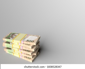 Stack of ukrainian money hryvnia with grey blank background