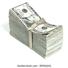 Stack of United States Currency Tied in a Ribbon - Tens