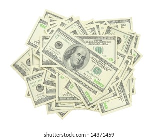 Stack of US $100 bills in isolated white background