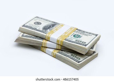 Stack of U.S. $100 bills on white background.