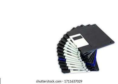 Stack of Used Floppy Diskettes,Floppy disk 3.5 inch isolated on white backround. Vintage computer diskette