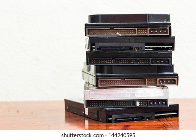 Stack of used hard disks