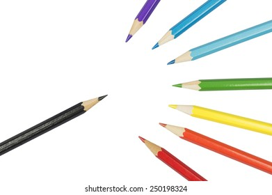 stack of various colored pencils isolated over white