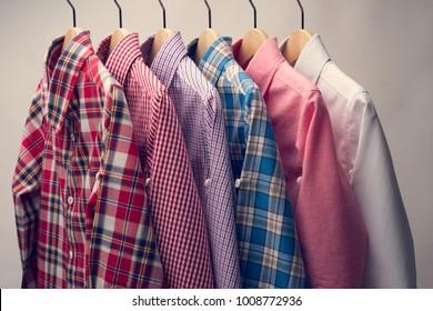 Stack of Various Plaid Men's Shirts.