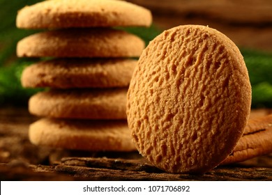 stack of vegan diet cookies with soft focus background.
