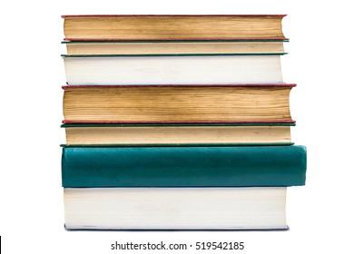 stack vintage aged book isolated on white background,back to school concept.
