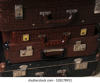 Stack of vintage leather suitcases