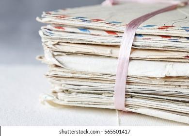 Stack of vintage letters.