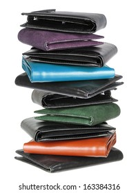 Stack of Wallets on White Background