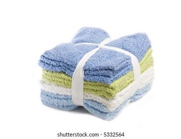 Stack of washcloths isolated on white