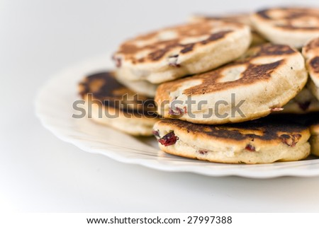 a stack of welsh cakes isolated on white backgound