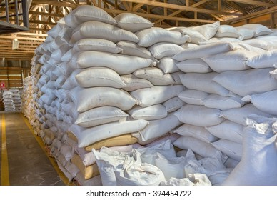 Stack of white bags at warehouse