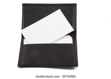 Stack of white blank card in card holder. Business cards blank for adding own text