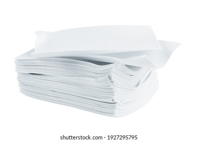 stack of white liquidless and powderless laundry detergent squares sheets isolated on white background