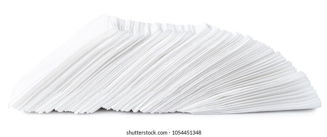 A stack of white napkins isolated on white background.