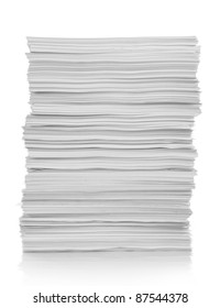 stack of white paper isolated on white background