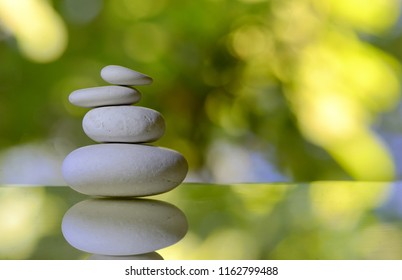 stack of white pebble stones in nature