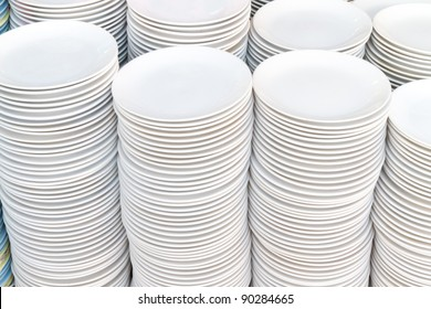 stack of white plates