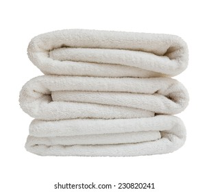Stack of white towels isolated on white background