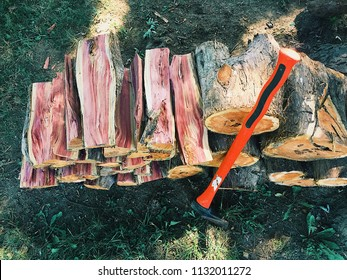 Stack of wood with axe