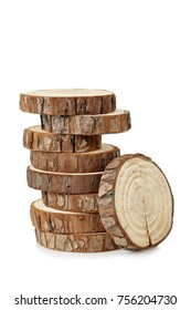 stack of wood logs isolated on white