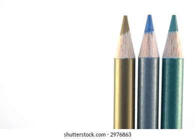 Stack of wood pencil crayons used for artwork