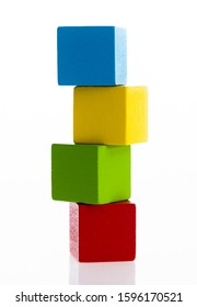 A stack of wooden blocks on white background.