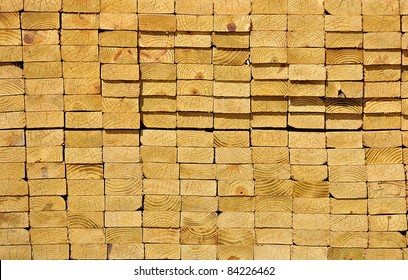 Stack Of Wooden Boards From Ends