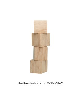 Stack of wooden cube isolated on white background.