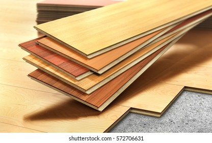 Stack of wooden laminate parquet on a wooden blur background. 3d illustration
