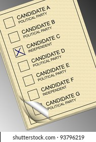 A stack of yellow ballot papers with a black and white background / Ballot paper