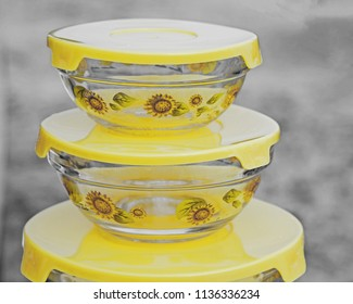 Stack of yellow food containers