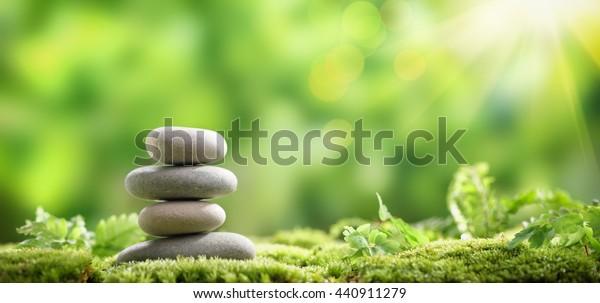 Photo De Stock De Stack Zen Stones On Nature Background
